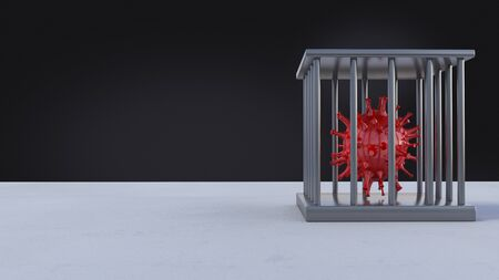 3d rendering of simple covid-19 virus mode  in iron cage on the floor. 免版税图像 - 147311242