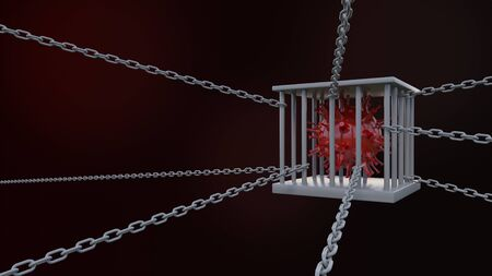 3d rendering of simple covid-19 virus mode  in iron cage on the floor. 免版税图像 - 147311249
