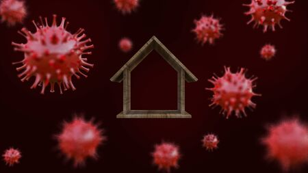 3d rendering image of wooden house model  surrounded by a lot of simple virus model. 免版税图像