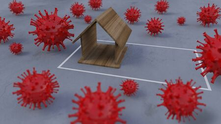 3d rendering image of wooden house model place on concrete wall which surrounded by a lot of simple virus model. 免版税图像