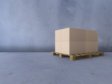 3d rendering image of boxs on wooden pallet