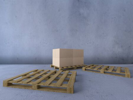 3d rendering image of boxs on wooden pallet. 免版税图像 - 146875942