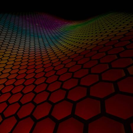 3d rendering image of colorful hexagon wave wall texture  免版税图像