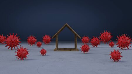 3d rendering image of wooden house model place on concrete wall which surrounded by a lot of simple virus model. 免版税图像 - 146875943