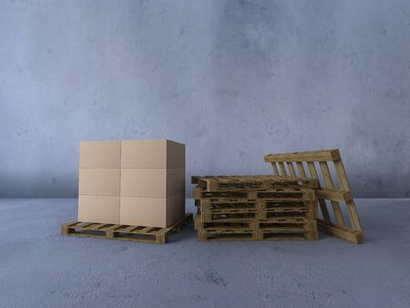 3d rendering image of boxs on wooden pallet.