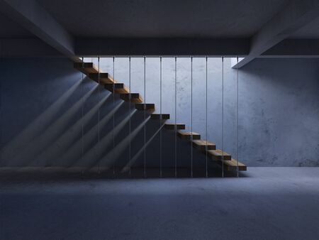 3d rendering image of hanging wooden stair witch have shadow on the wall.