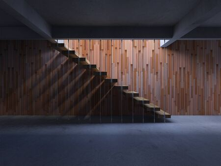 3d rendering image of hanging wooden stair witch have shadow on the wall. 免版税图像 - 146571463