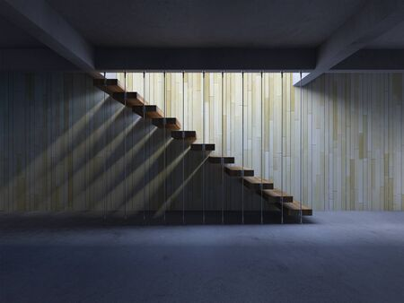3d rendering image of hanging wooden stair witch have shadow on the wall. 免版税图像 - 146571143