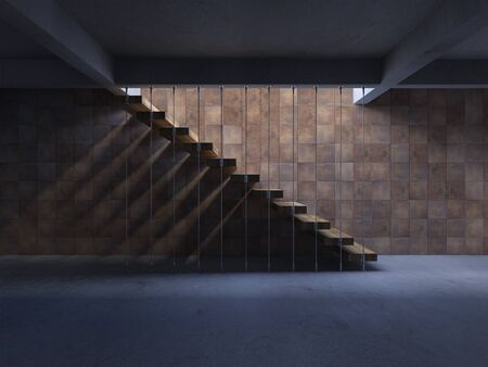 3d rendering image of hanging wooden stair witch have shadow on the wall. 免版税图像 - 146571586