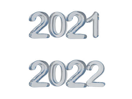 3d rendering glass text 2021 & 2022. Ghraphic element for create your art work. Background for Happy new year festival