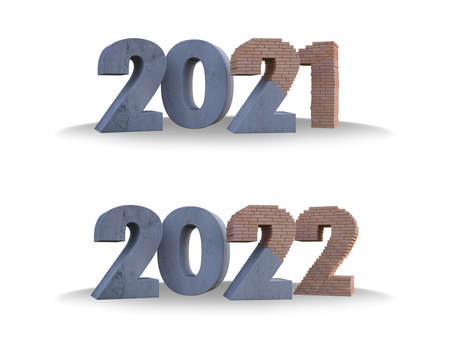 3d rendering  brick and concrete text 2021 & 2022. Ghraphic element for create your art work. Background for Happy new year festival 免版税图像