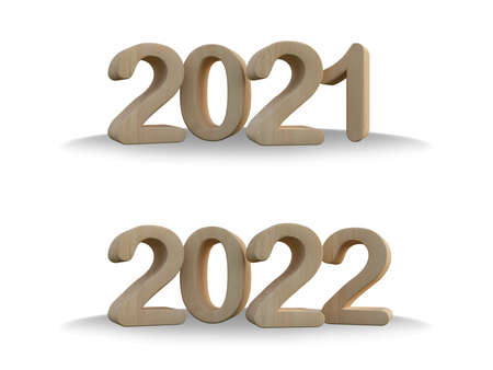 d rendering  light color wooden text 2021 & 2022. Ghraphic element for create your art work. Background for Happy new year festival 免版税图像