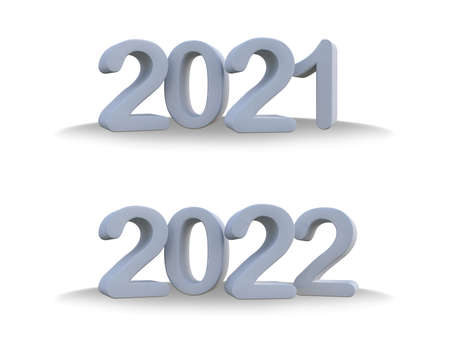 3d rendering  white plastic text 2021 & 2022. Ghraphic element for create your art work. Background for Happy new year festival 免版税图像