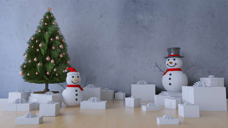 3Ds rendering of christmas tree and snow man on the table which have many presents on the tablel, happy new year and merry christmas concept. Wall mockup 免版税图像