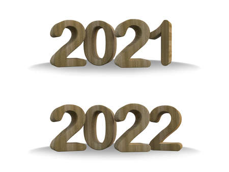 d rendering  dark wooden text 2021 & 2022. Ghraphic element for create your art work. Background for Happy new year festival 免版税图像