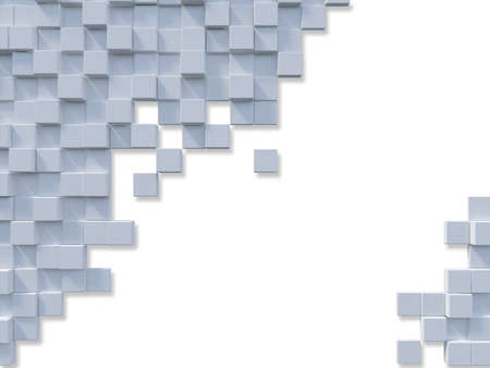3d rendering image of a lot of cubic  alligned on the wall. Wall background. Background and text box mockup
