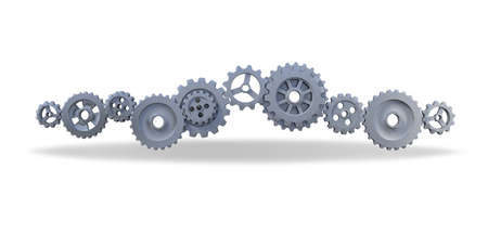 3ds rendering image of gears for mechanical background. Background mockup 免版税图像