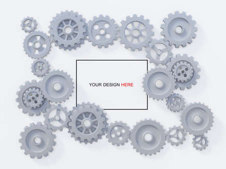 3ds rendering image of gears for mechanical background. Background mockup, Text box mockup