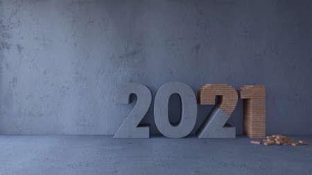 3d rendering image of concrete and blick text 2021 in concrete room. Wall mockup in smart object layer. Background for new year festival 免版税图像