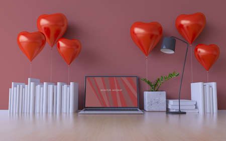 3D rendering image of valentine's day background. Background & Text box mockup in smart object layer.