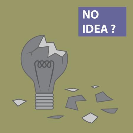 no idea: Broken light bulb with world No Idea Illustration