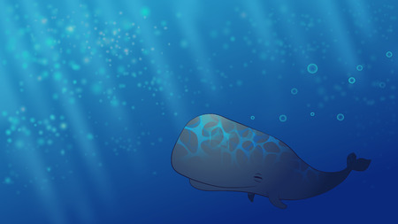 cartoon sperm: Happy smiling Whale in the blue dreamy ocean