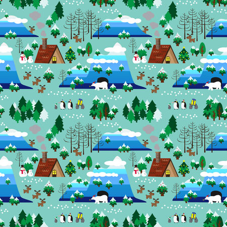 Landscape of Christmas theme in map style seamless pattern Vector
