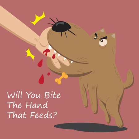 A nasty dog bite the hand that feeds him Vectores