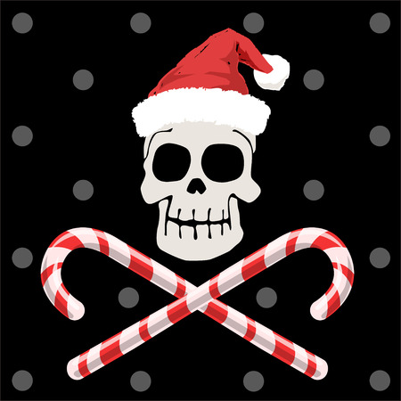 Pirate skull in christmas and candy cane Vector