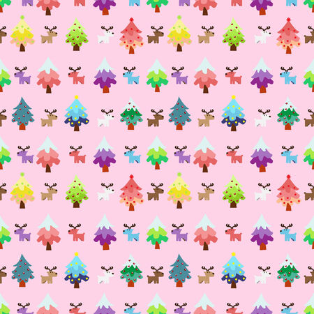 sweety: Christmas theme pine tree and reindeer in sweety pink background seamless pattern