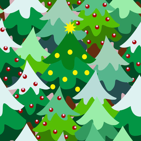 Christmas theme pine tree forest close up seamless pattern background cartoon style Vector