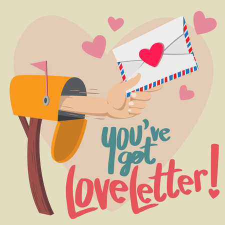 grasp: Hand with a Love letter show up from mailbox with big heart background