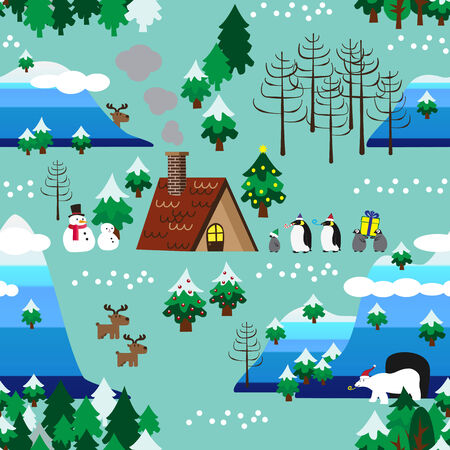 Landscape of Christmas theme in map style seamless pattern close up Vector