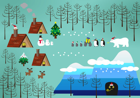 Landscape of Christmas theme with penguin , santa and friends Vector