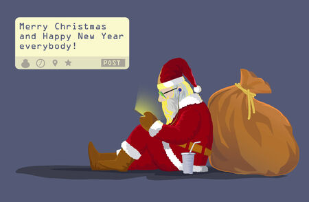 cartoon present: Santa claus sit on the ground  lean on his gift bag sending a post \\\ Merry Christmas and Happy New Year everybody!\\\ from his mobile phone
