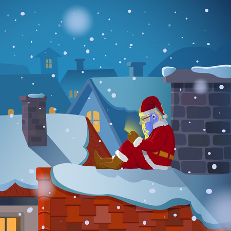 Santa claus sit on the roof chatting on his mobile phone in snowy christmas night