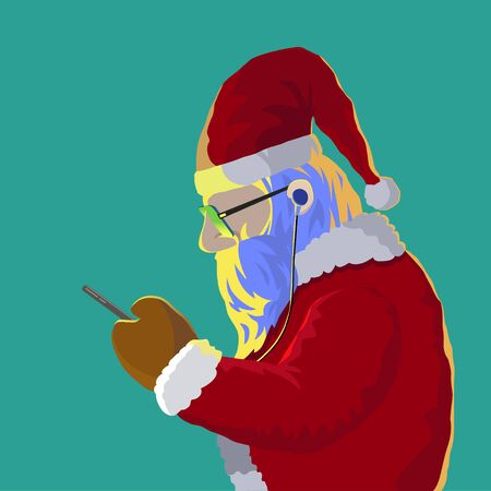 Santa claus got message on his mobile phone