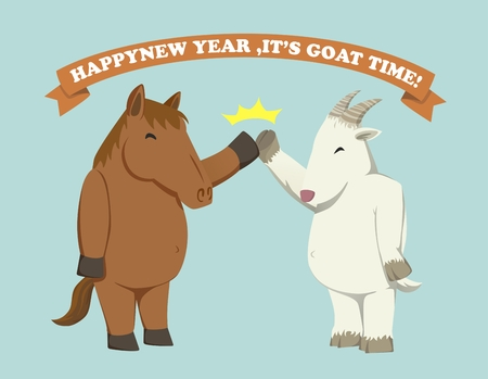 high five: Fat horse give high five with Fat goat as a new year come,The year of goat! Illustration