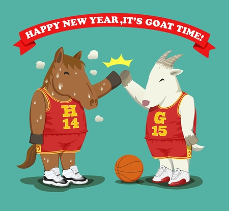 high five: Basketball style sweaty fat horse give high five with fat goat as a year\