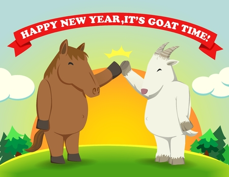 over the hill: Fat horse give high five with Fat goat as a years zodiac change from horse to goat over the hill with sunrise Illustration