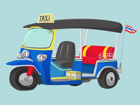 TUK-TUK is the name of Thailand Taxi one of the best way to explore urban city 矢量图像
