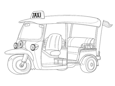 tuk tuk: TUK-TUK is the name of Thailand Taxi one of the best way to explore urban city in Black and white outline Illustration