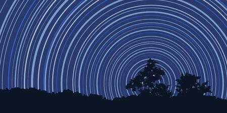 hosszú expozíció: Csillagok Trails egy sötét kék ég upon erdő