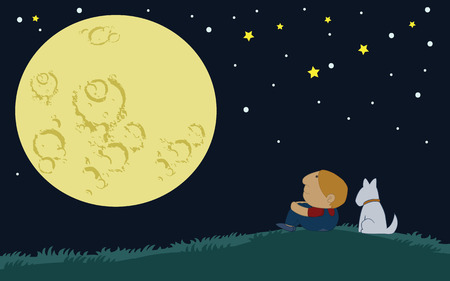 over the hill: Little Boy and his dog sit over the hill looking at the big moon