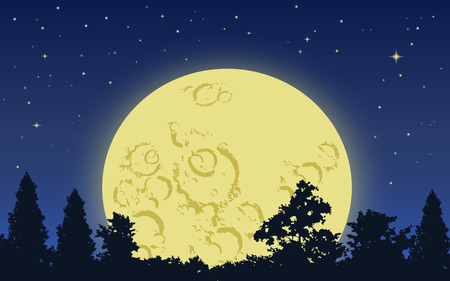 full moon: Big yellow moon rising above dark forest in starry night
