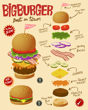 cheese burger: Big Hamburger billboard with ingredient diagram and detail Illustration