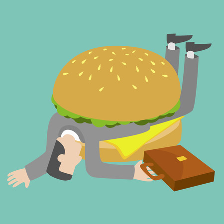 trapped: Businessman who get trapped by burger. Illustration