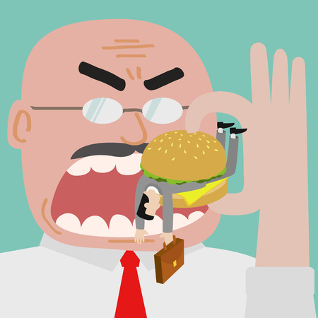 Boss eating businessman who get trapped by burger.