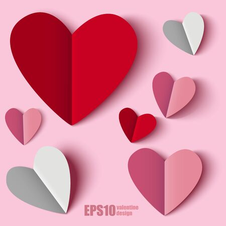 valentine heart: Red Pink White Paper hearts Valentines day card on pink background design
