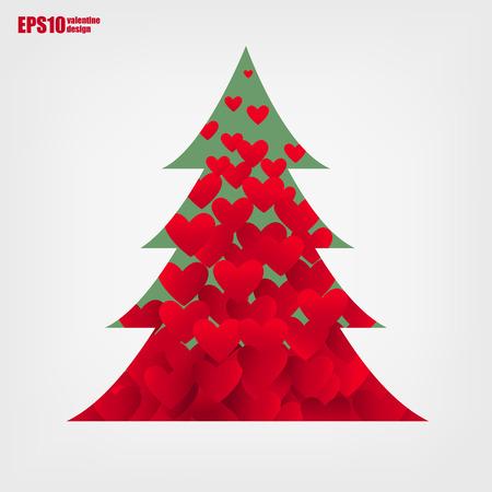 pinetree: San Valent�n coraz�n rojo en contorno pinetree en el fondo blanco